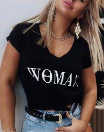 Тениска в черно с принт - код 4435