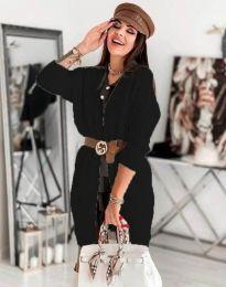 Дамска дълга плетена жилетка в черно - код 0419