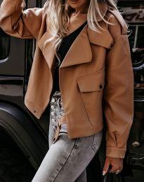 Дамско късо свободно кожено яке в кафяво - код 4901
