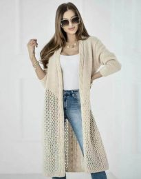 Атрактивна дълга плетена дамска жилетка в бежово - код 7361