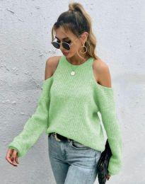 Дамски пуловер с голи рамене в цвят мента- код 3165