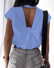 Дамска тениска с ефектен гръб в синьо - код 4515