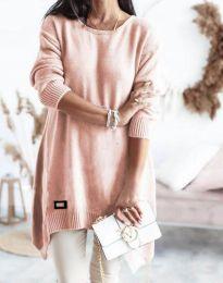 Дамска плетена туника в розово - код 4074