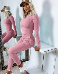 Дамски спортно-елегантен комплект блуза с дълъг ръкав и панталон в розово - код 12056
