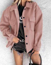 Дамско свободно късо палто в цвят пудра - код 4984