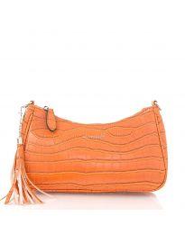 Дамска чанта в оранжево с цип и пискюл - код JW6489