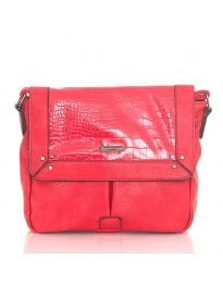 Дамска чанта в червено с капак и дълга дръжка - код  Y81914-1