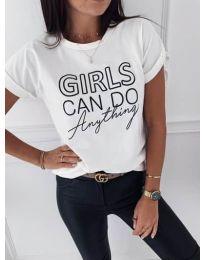 Тениска в бяло с ефектен принт - код 3581