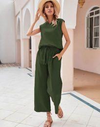 Дамски комплект потник и панталон в масленозелено - код 0881