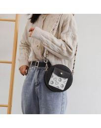 Кръгла  чанта в черно с преден джоб и дълга дръжка - код B163