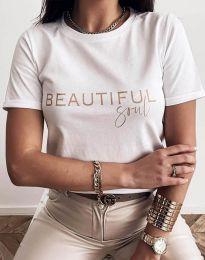 Тениска в бяло с моден принт - код 2284