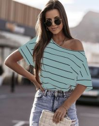 Раирана дамска тениска в цвят мента - код 5865