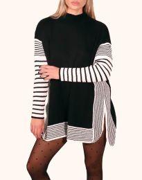 Дамска туника с дълъг ръкав в черно и бяло - код 0798 - 1