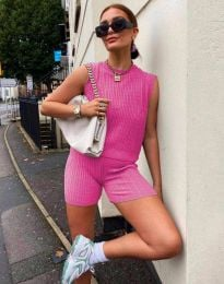 Дамски сет потник и къси панталони плетиво в розово - 10055