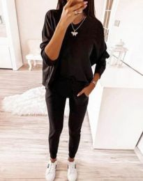Свободен дамски комплект със свободна блуза в черно - код 2241