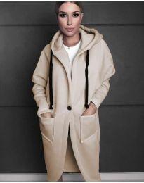 Стилно спортно-елегантно дамско палто с качулка в бежово - код 0855