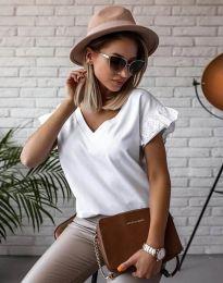 Блуза с ефектни ръкави в бяло - код 2922