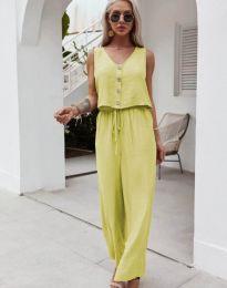 Свободен дамски комплект потник и панталон в жълто - код 6929