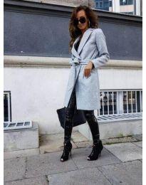 Елегантно дамско палто с колан в сиво - код 7940