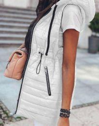 Дълъг дамски елек грейка с качулка в бяло - код 4138