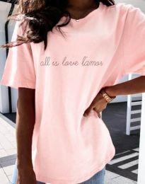Дамска тениска с принт в розово - код 36755