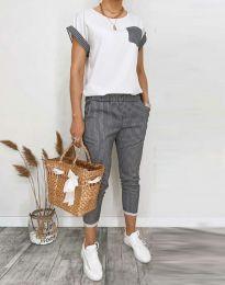 Дамски комплект тениска и панталон в черно райе - код 5210