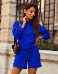 Дамски спортен сет блуза с дълъг ръкав и къси панталони в тъмносиньо - код 1057