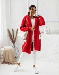 Дълга дамска плетена жилетка с качулка в червено - код 4703