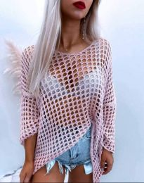 Ефектна дамска блуза едра плетка в розово - код 4805