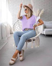 Блуза с ефектни ръкави в лилаво - код 2922