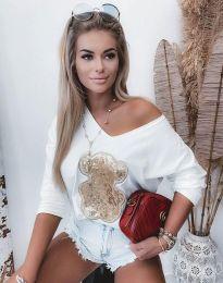 Дамска свободна блуза с паднало рамо и щампа в бяло - код 2076