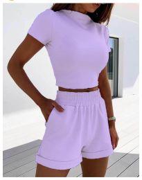 Ежедневен сет тениска и къси панталонки в цвят лилаво - код 333