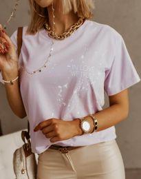 Дамска тениска в светлолилаво с принт - код 0401