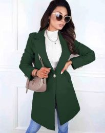 Дамско елегантно палто с копче в тъмнозелено - код 4704