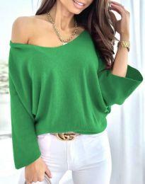 Дамска елегантна свободна блуза с паднало рамо в зелено - код 6289