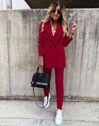 Елегантен дамски комплект сако с копчета и панталон в цвят бордо - код 4090