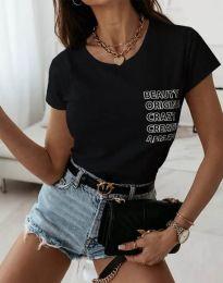 Дамска тениска в черно с надписи - код 11792