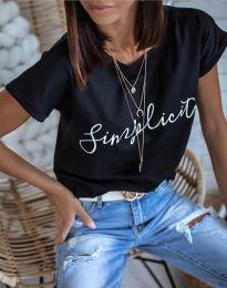 Дамска блуза в черно с принт - код 4349
