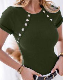 Дамска тениска в масленозелено - код 0163