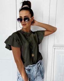 Дамска тениска с къдрички в масленозелено с ефектни ръкави - код 4669