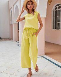 Дамски комплект потник и панталон в жълто - код 0881