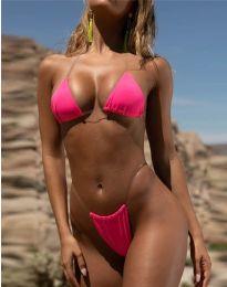 Дамски изрязан бански в розово - код 9042 - лице