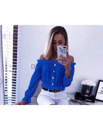 Кокетна дамска риза в синьо с голи рамене - код 7126