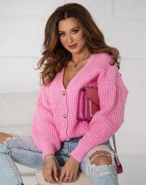 Къса плетена дамска жилетка с копчета в розово - код 4087