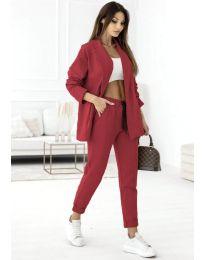 Спортно-елегантен дамски комплект сако и панталон в цвят бордо - код 1661
