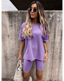Дамски спортен сет тениска и клин в лилаво - код 9954