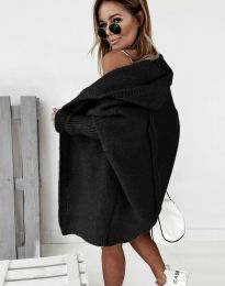 Дамска дълга плетена жилетка с качулка в черно - код 2464