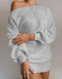 Дълга дамска туника от плетиво с паднало рамо в сиво - код 7962