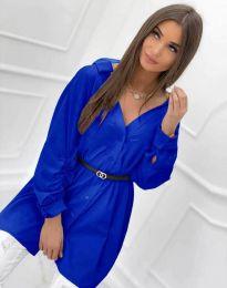 Дълга дамска риза с дълъг ръкав в синьо - код 0227