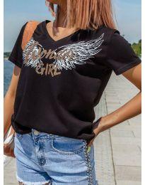 Дамска тениска в черно с принт - код 4261